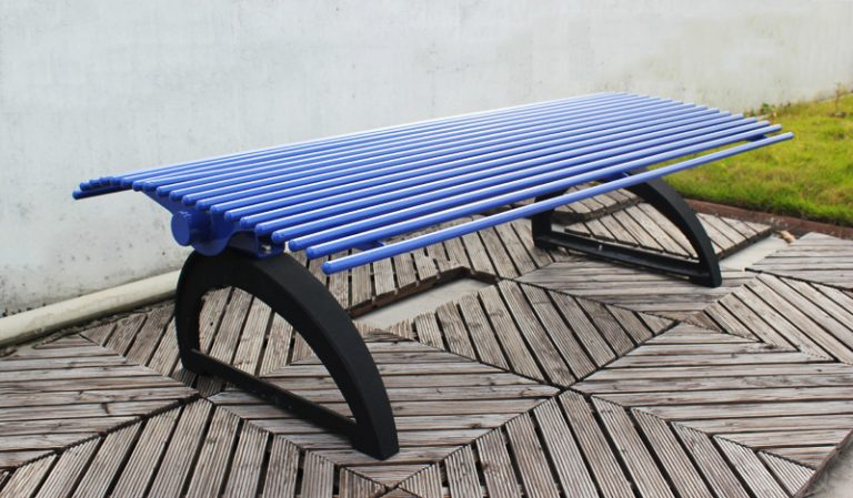 Commercial Outdoor Backless Metal Park Bench SPB-401 Image 1