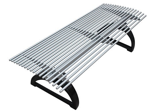 Commercial Outdoor Backless Metal Park Bench SPB-401 Image 2