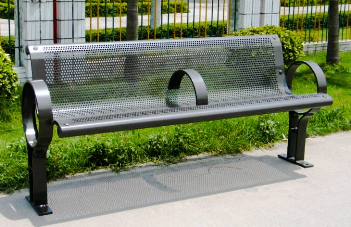Commercial Outdoor Metal Park Bench SPB-009A Image 1