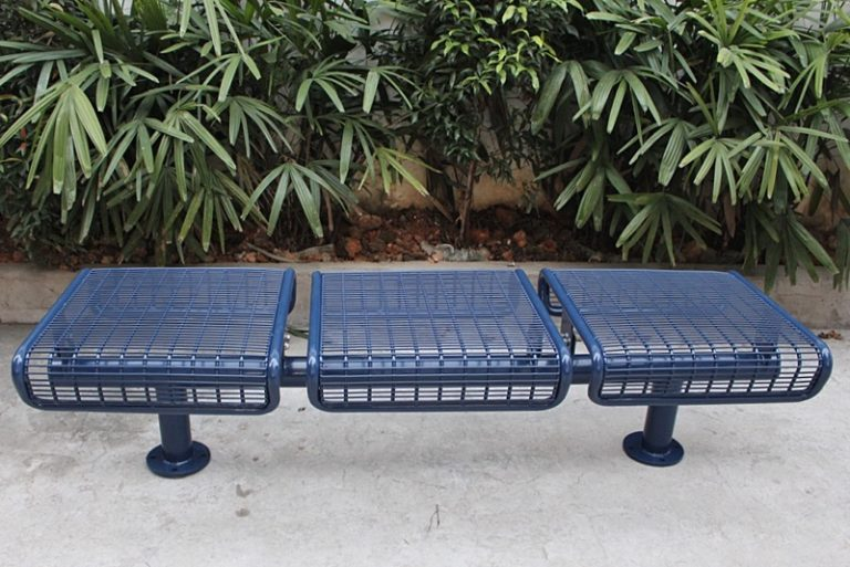 metal park bench with steel mesh seats