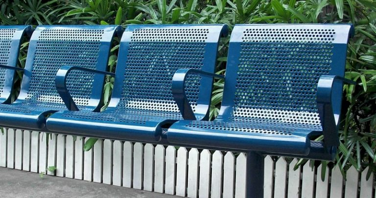 Commercial Outdoor Metal Park Bench SPB-127 Image 2