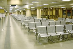 Commercial Steel Park Bench In An Airport