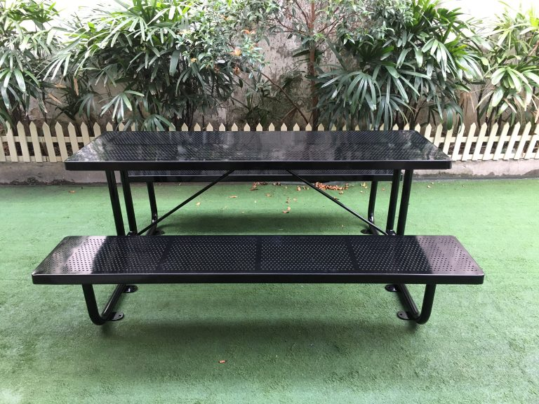 Commercial Outdoor Picnic Table SPP-201 (6) glossy balck, 6' long