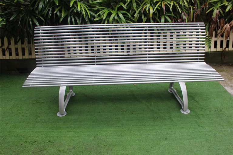 Commercial Outdoor Metal Bench SPB-310 glossy metallic silver front view