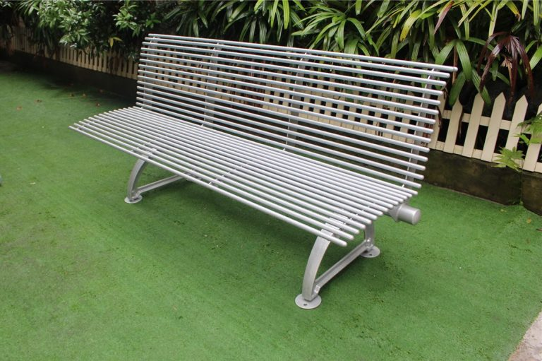 Commercial Outdoor Metal Bench SPB-310 glossy metallic silver