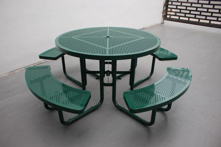 Commercial steel picnic table SPP-203 RAL6005 sunperk site furnishings