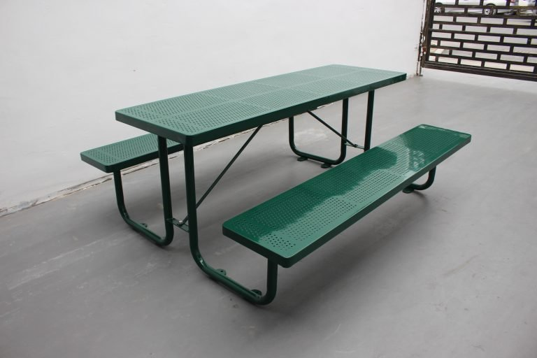 Commercial Outdoor Picnic Table SPP-201 glossy moss green RAL6005