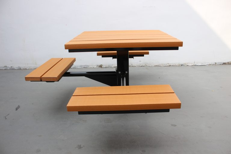 Commercial Outdoor Recycled Plastic Picnic Table SPP-104 image 2 ADA and wide lumber version