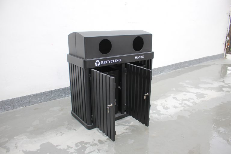 commercial site furniture 2-compartment recycling station SPC-102 (10)