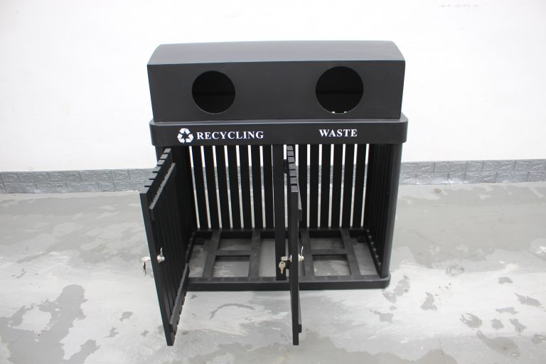 commercial site furniture 2-compartment recycling station SPC-102 (14)