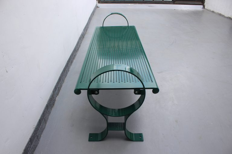 Commercial Outdoor Backless Steel Park Bench SPB-009B Color RAL6005 Glossy Moss Green (3)