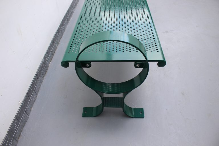 Commercial Outdoor Backless Steel Park Bench SPB-009B Color RAL6005 Glossy Moss Green (5)