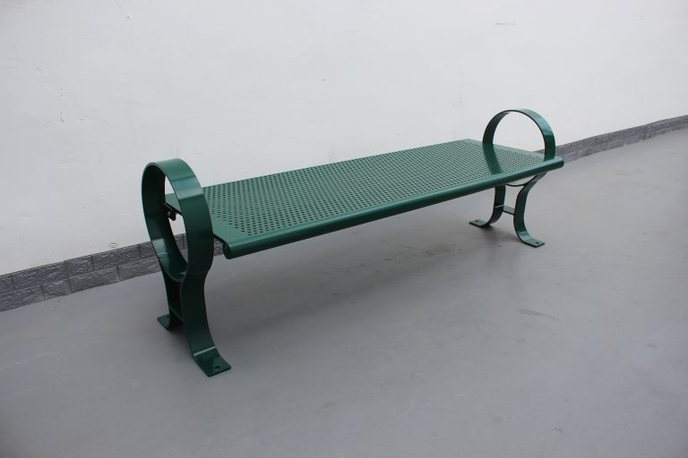 Commercial Outdoor Backless Steel Park Bench SPB-009B Color RAL6005 Glossy Moss Green (6)