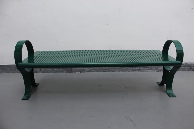 Commercial Outdoor Backless Steel Park Bench SPB-009B Color RAL6005 Glossy Moss Green (7)