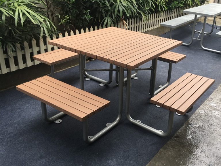 Commercial Outdoor Picnic Table SPP-103 (4) plastic lumber + glossy silver powder coating