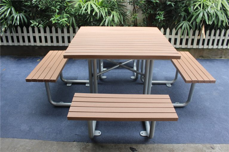 Commercial Outdoor Picnic Table SPP-103 (5) plastic lumber + glossy silver powder coating