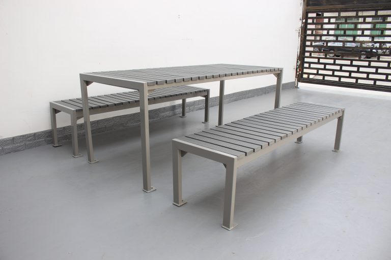 Commercial Outdoor Recycld Plastic Picnic Table SPP-305 color code RAL7030 glossy and P4 plastic lumber(6)