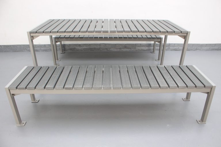 Commercial Outdoor Recycld Plastic Picnic Table SPP-305 color code RAL7030 glossy and P4 plastic lumber(8)