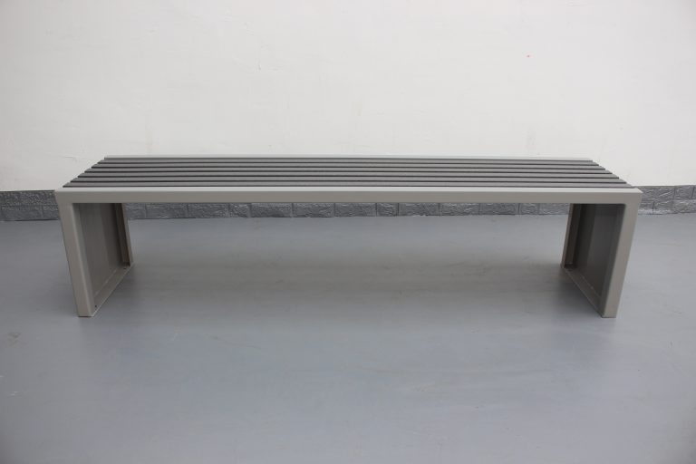 Commercial Outdoor Recycled Plastic Bench SPB-204 Color Glossy RAL7030 and P4 Plastic Lumber 01