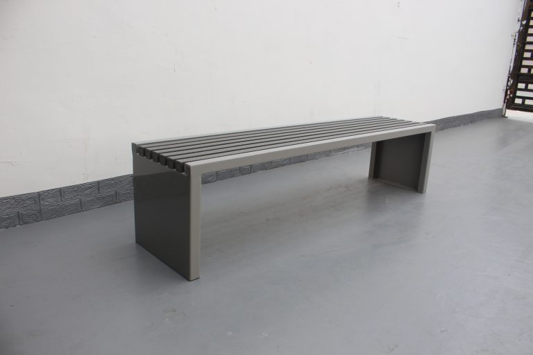 Commercial Outdoor Recycled Plastic Bench SPB-204 Color Glossy RAL7030 and P4 Plastic Lumber 03