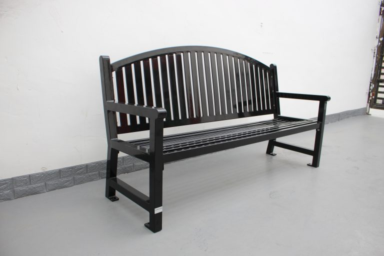 Commercial Outdoor Steel Park Bench SPB-672 Color RAL9005 Glossy Black 03