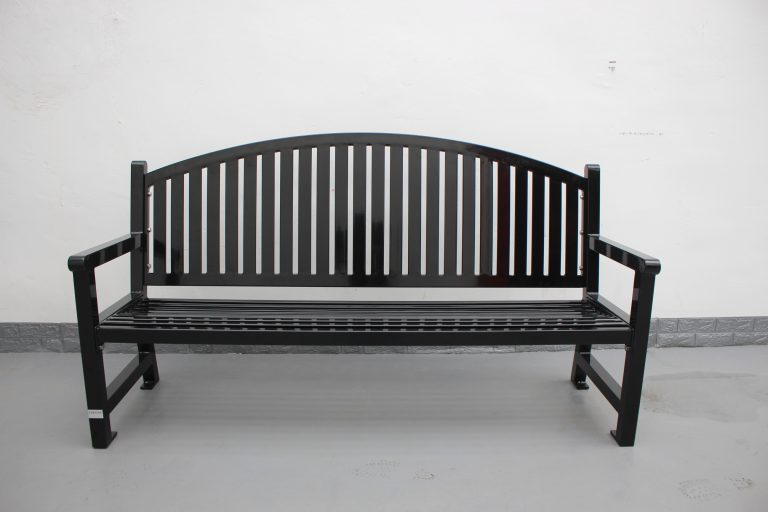 Commercial Outdoor Steel Park Bench SPB-672 Color RAL9005 Glossy Black 05