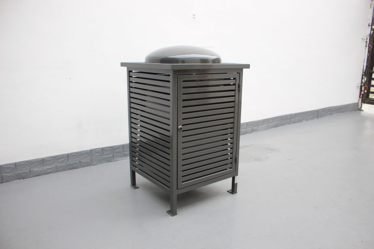 Commercial Outdoor Trash Receptacle SPT-C13 Color RAL 7022 Glossy Grey(11)