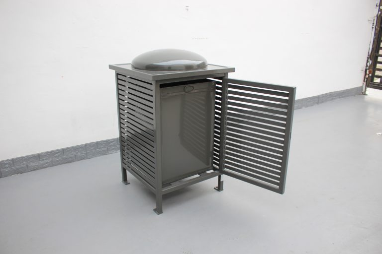 Commercial Outdoor Trash Receptacle SPT-C13 Color RAL 7022 Glossy Grey(5)