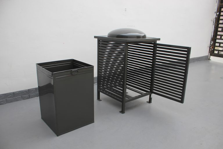 Commercial Outdoor Trash Receptacle SPT-C13 Color RAL 7022 Glossy Grey(9)