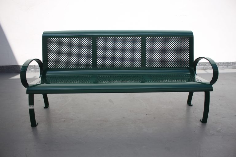Commercial Steel Park Bench SPB-075 RAL 6005 Moss Green 01