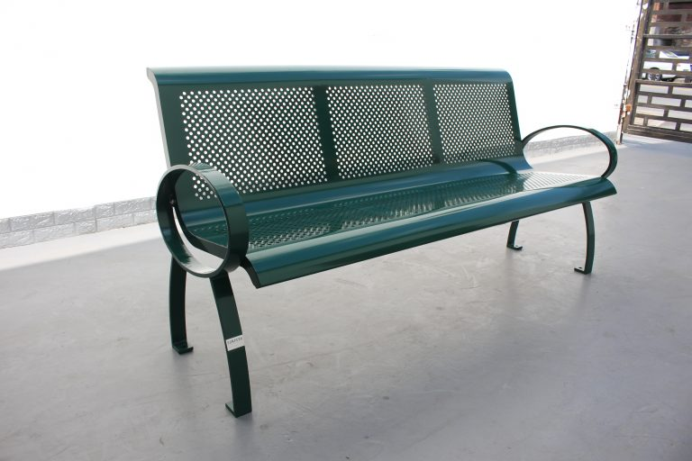 Commercial Steel Park Bench SPB-075 RAL 6005 Moss Green 02