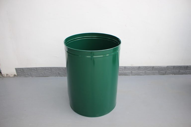 commercial steel trash receptcle color RAL 6005 glossy moss green 03