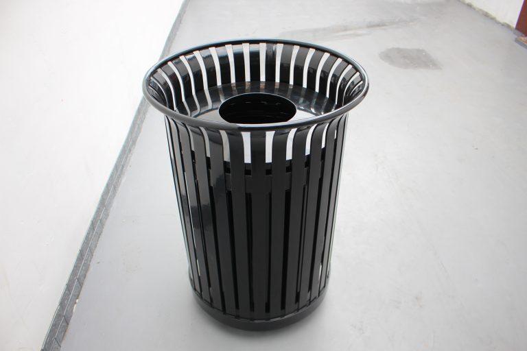commercial steel trash receptcle color glossy black color