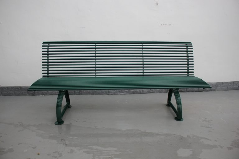 Commercial Outdoor Metal Bench SPB-310 Glossy Moss Green RAL6005 (4)