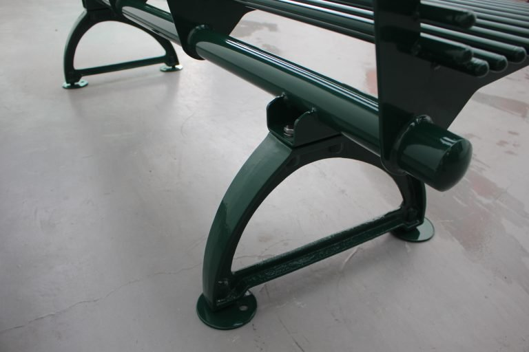 Commercial Outdoor Metal Bench SPB-310 Glossy Moss Green RAL6005 (7)