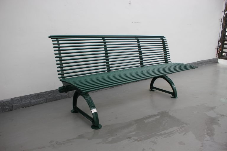 Commercial Outdoor Metal Bench SPB-310 Glossy Moss Green RAL6005 (8)
