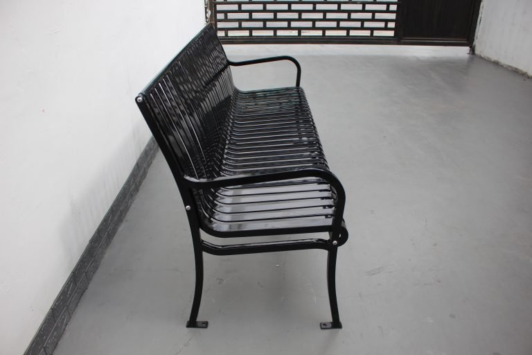 Commercial Outdoor Metal Park Bench SPB-305 Glossy Black Color RAL9005 Image 11
