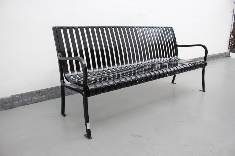 Commercial Outdoor Metal Park Bench SPB-305 Glossy Black Color RAL9005 Image 15