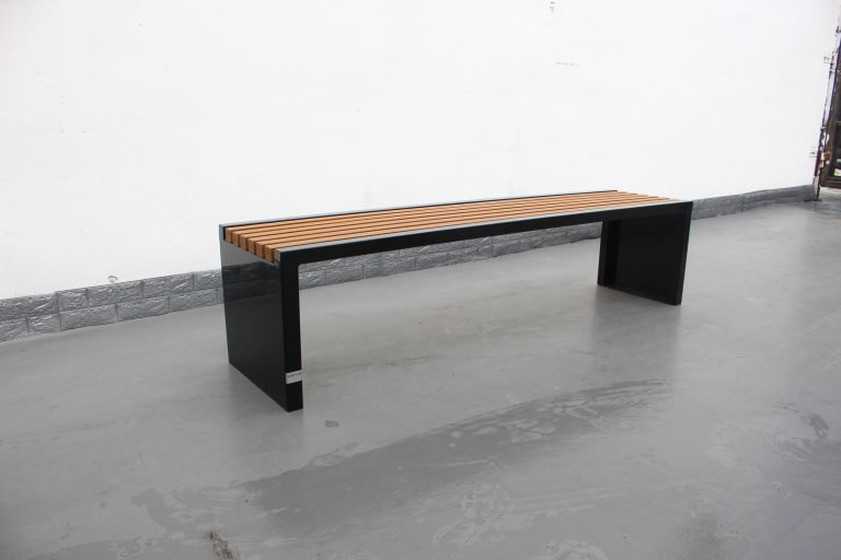 Commercial Outdoor Recycled Plastic Bench SPB-204 Color Glossy Black RAL9005 Lumber P3 Image 1