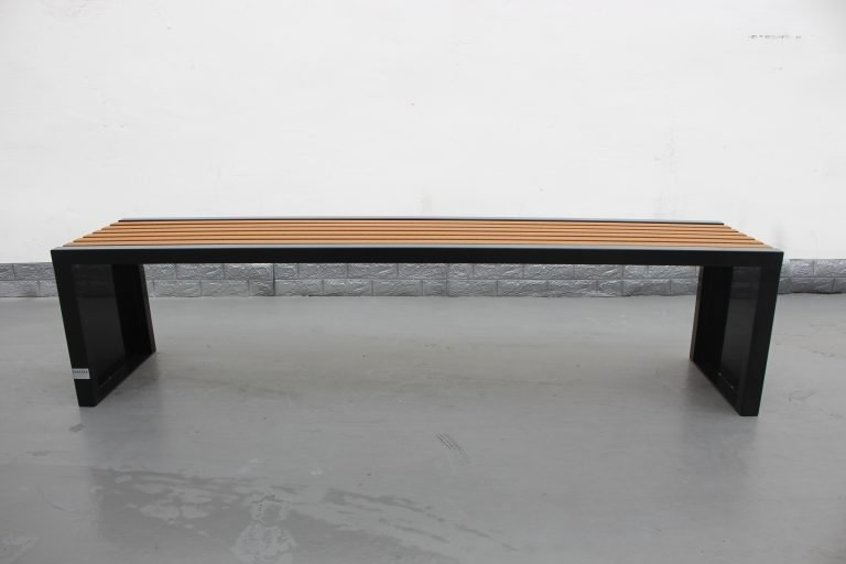 Commercial Outdoor Recycled Plastic Bench SPB-204 Color Glossy Black RAL9005 Lumber P3 Image 2