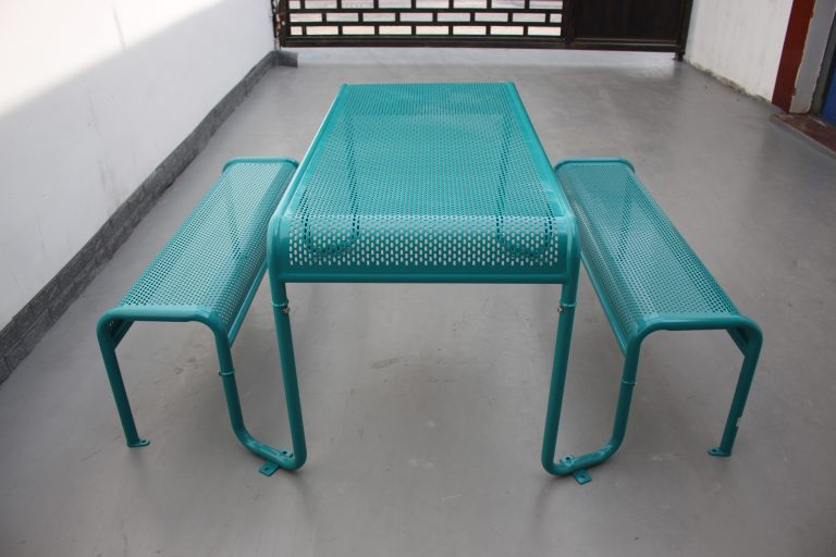 Commercial Recycled Plastic Picnic Table SPP-206 Glossy Water Blue RAL5021 Image (5)