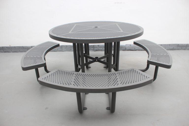 Commercial Steel Picnic Table SPP-203_Powder Coating Color Matt Grey RAL6005 (7)