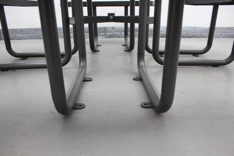 Commercial Steel Picnic Table SPP-203_Powder Coating Color Matt Grey RAL6005 (8)