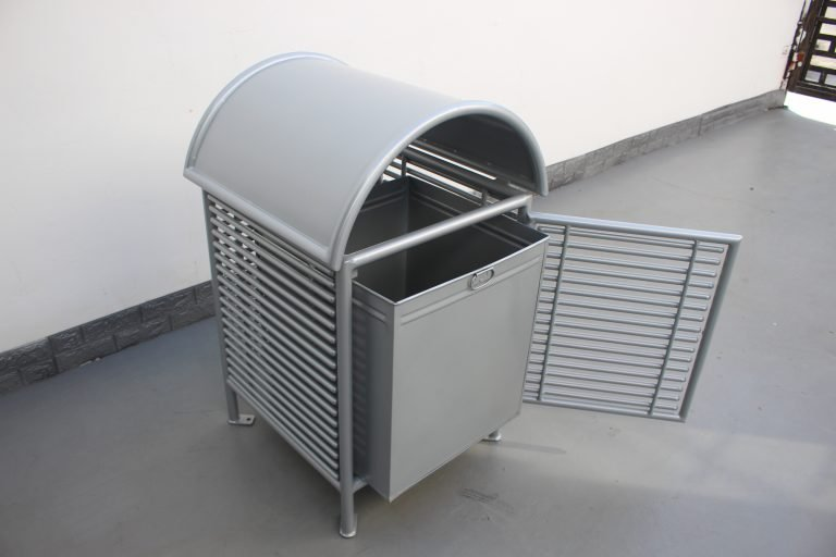 Commercial Steel Trash Receptacle SPT-101_Glossy Metallic Silver (6)