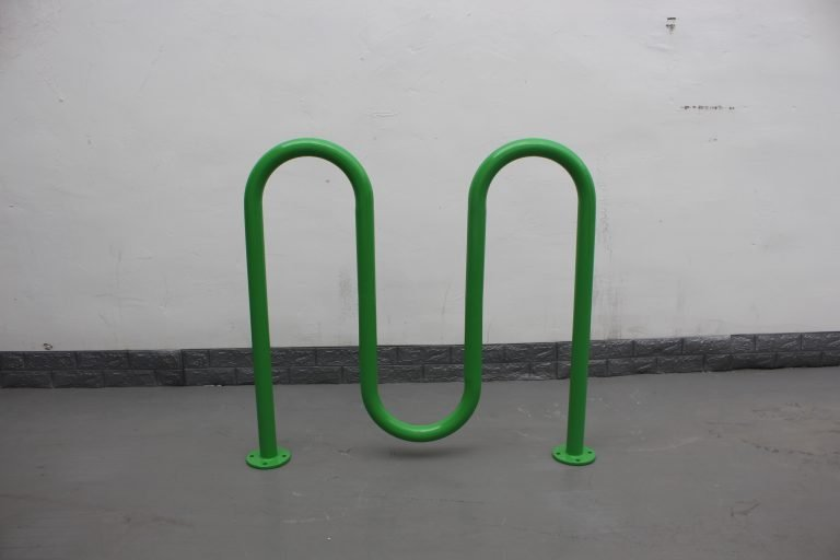 commercial steel continuous U shaped bike rack RAL 6016 turquoise green image 03